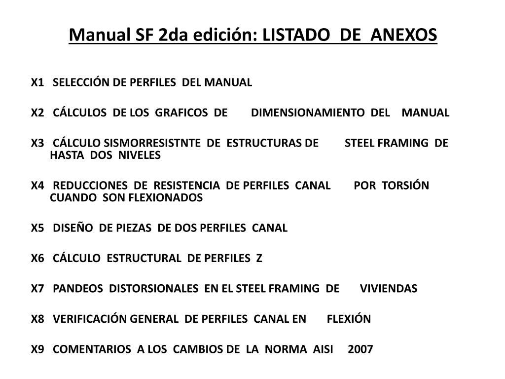 Manual SF 2da edición: LISTADO  DE  ANEXOS