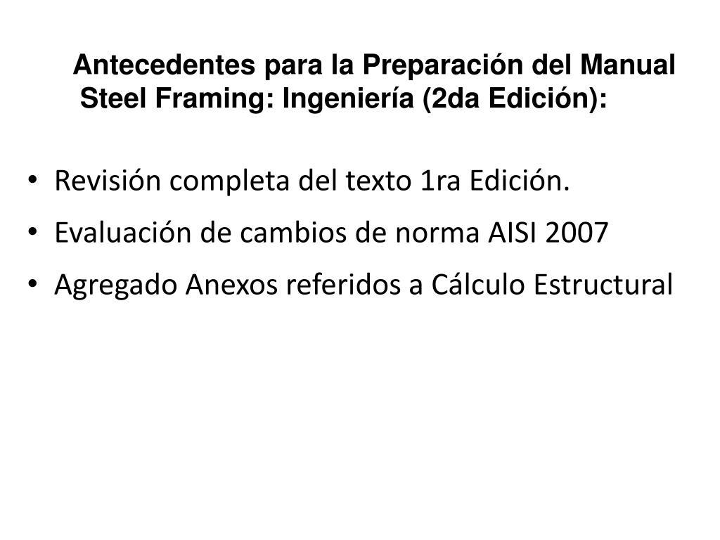 Antecedentes para la Preparación del Manual