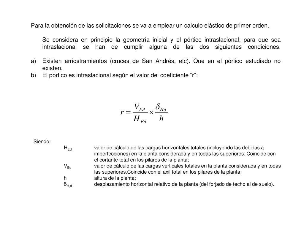 Para la obtención de las solicitaciones se va a emplear un calculo elástico de primer orden.