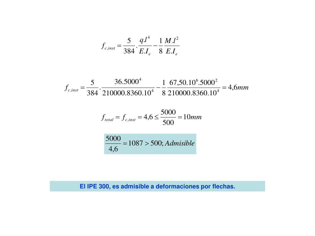 El IPE 300, es admisible a deformaciones por flechas.