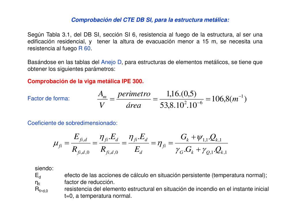 Comprobación del CTE DB SI, para la estructura metálica: