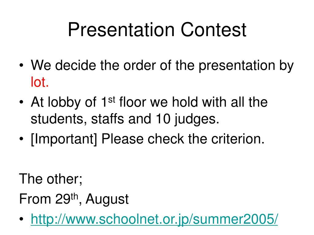 Presentation Contest