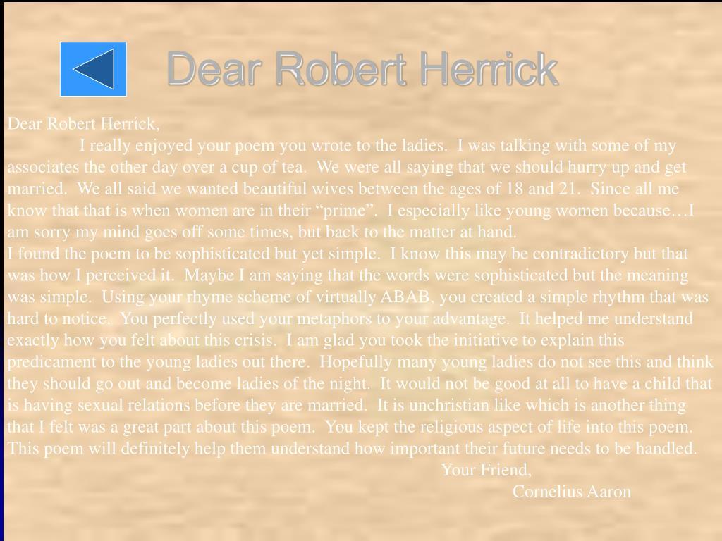 Dear Robert Herrick
