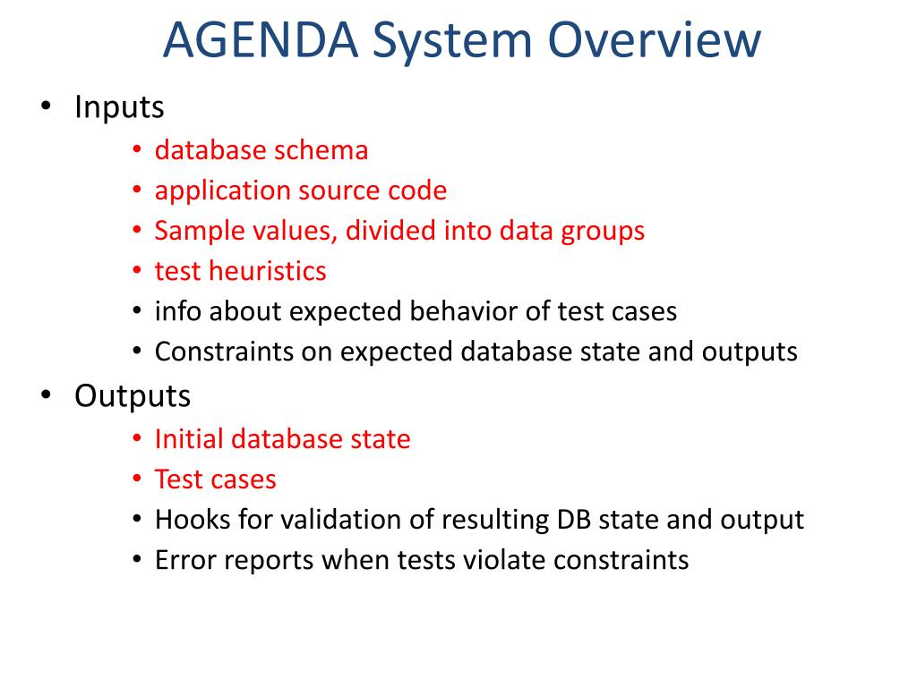AGENDA System Overview