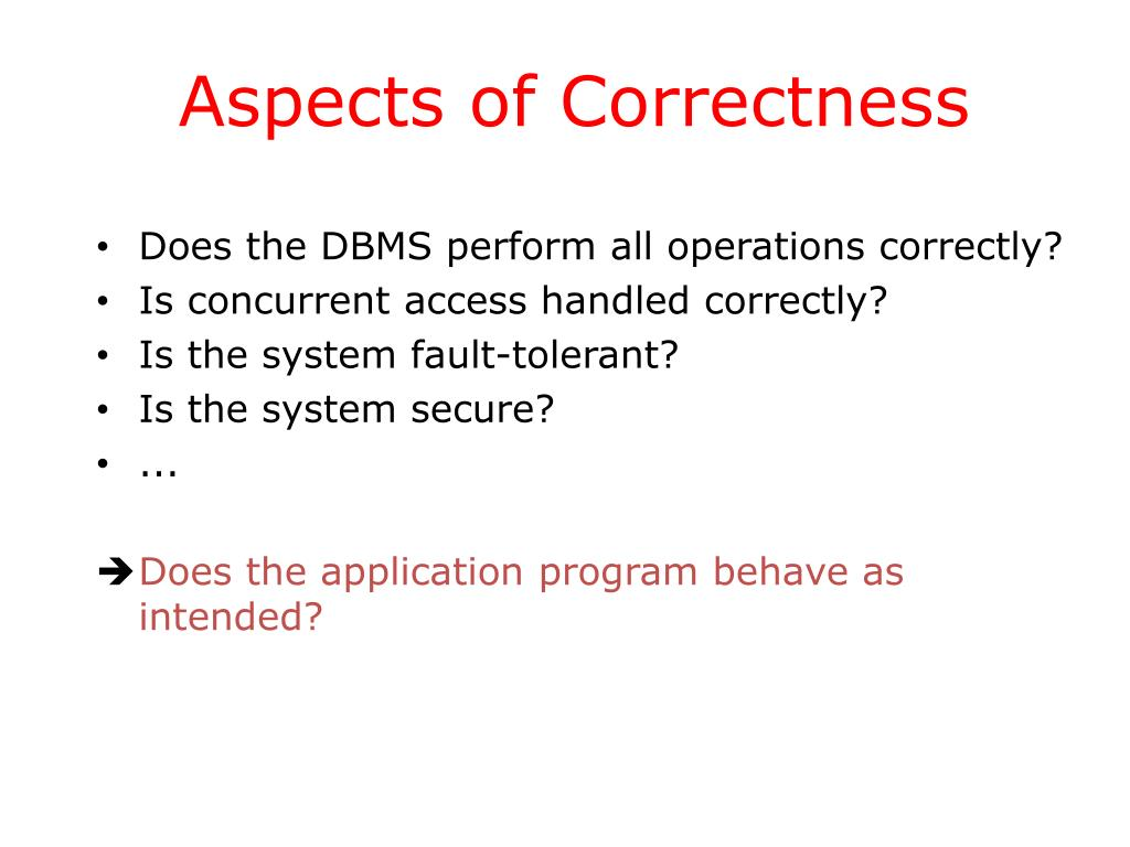 Aspects of Correctness