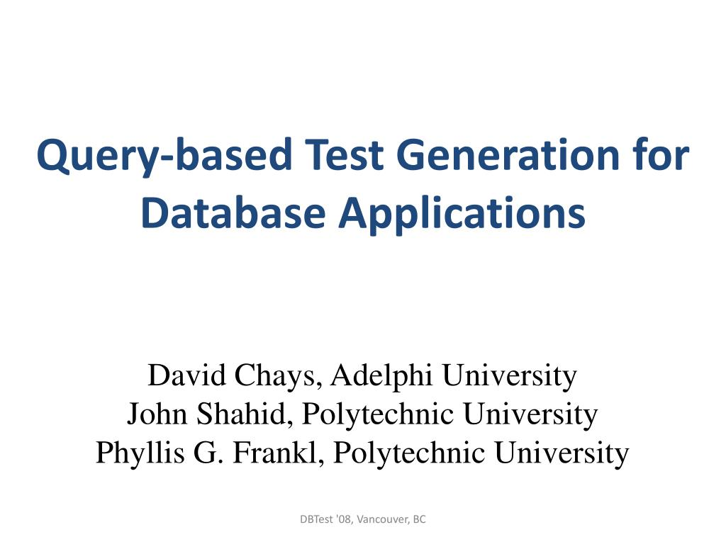 Query-based Test Generation for Database Applications