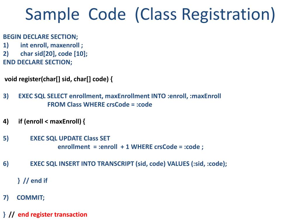 Sample  Code  (Class Registration)