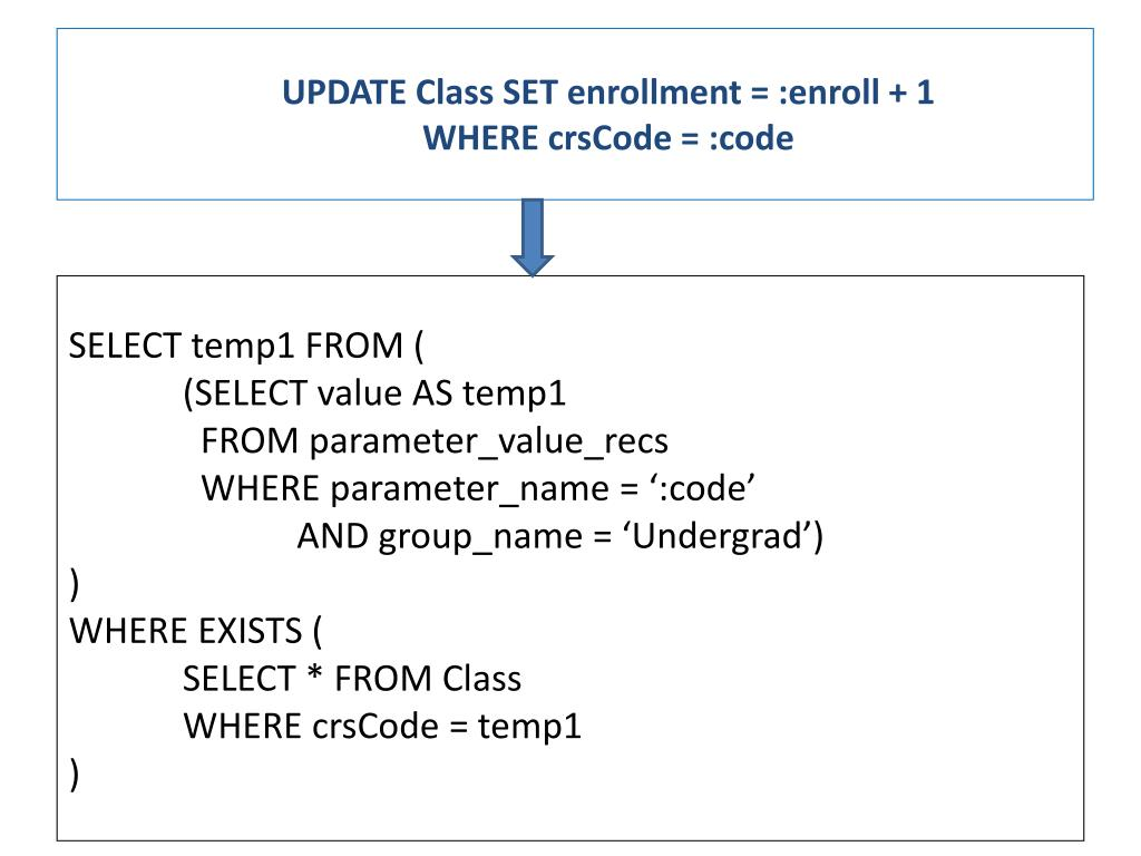 UPDATE Class SET enrollment = :enroll + 1