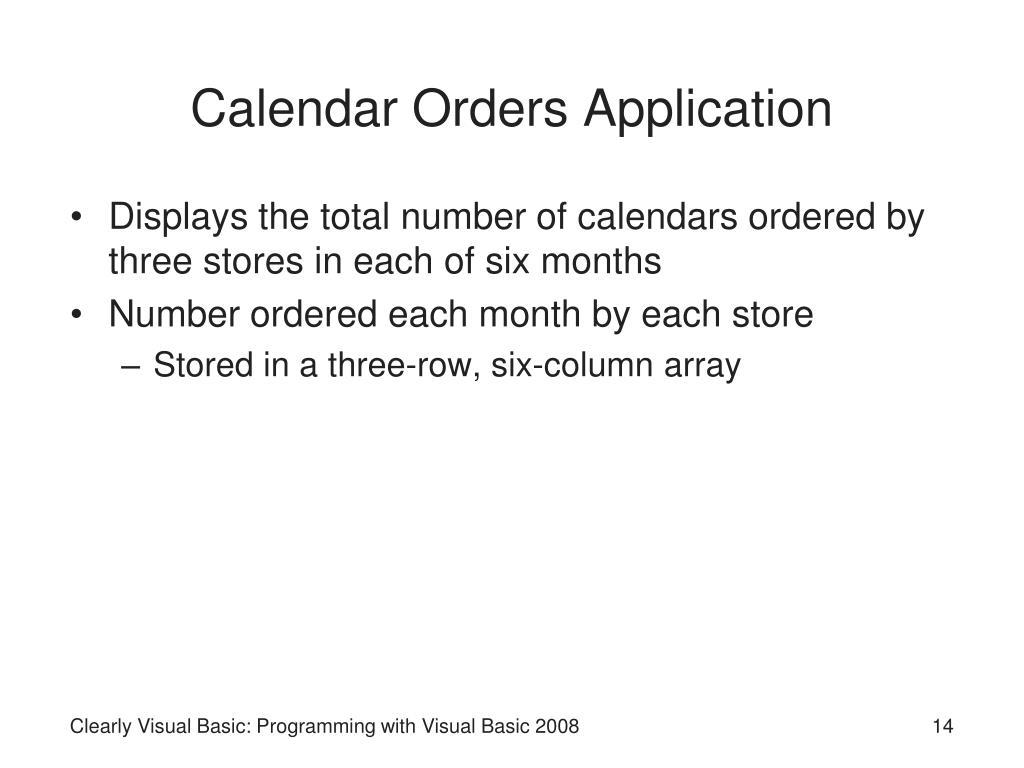 Calendar Orders Application