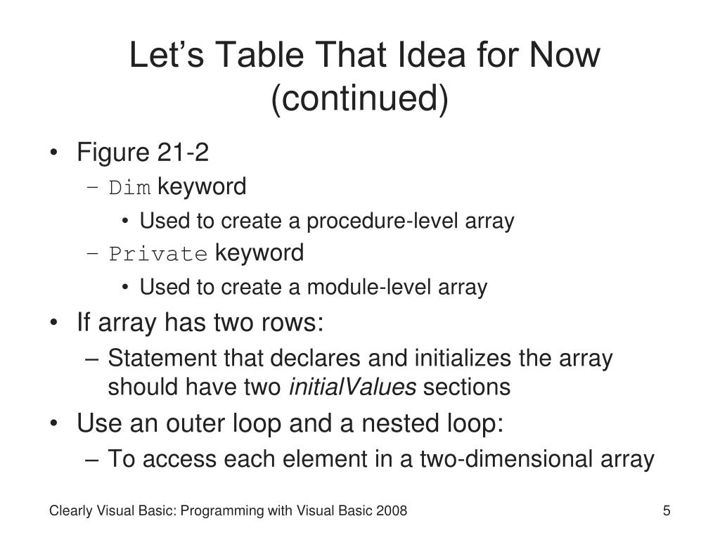 Let's Table That Idea for Now (continued)