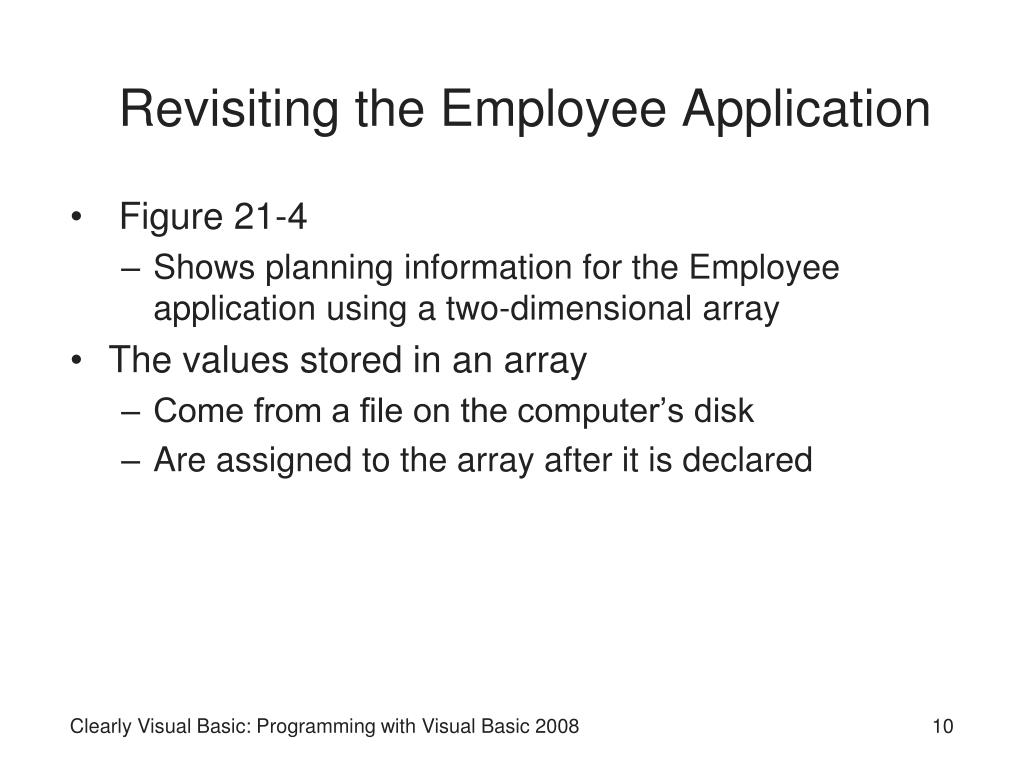Revisiting the Employee Application