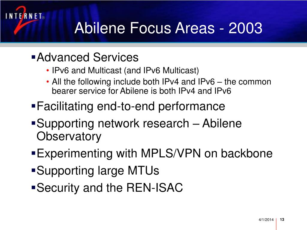 Abilene Focus Areas - 2003