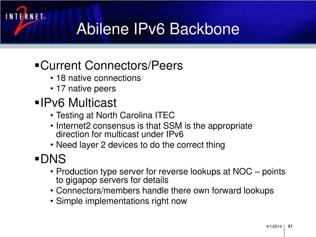 Abilene IPv6 Backbone