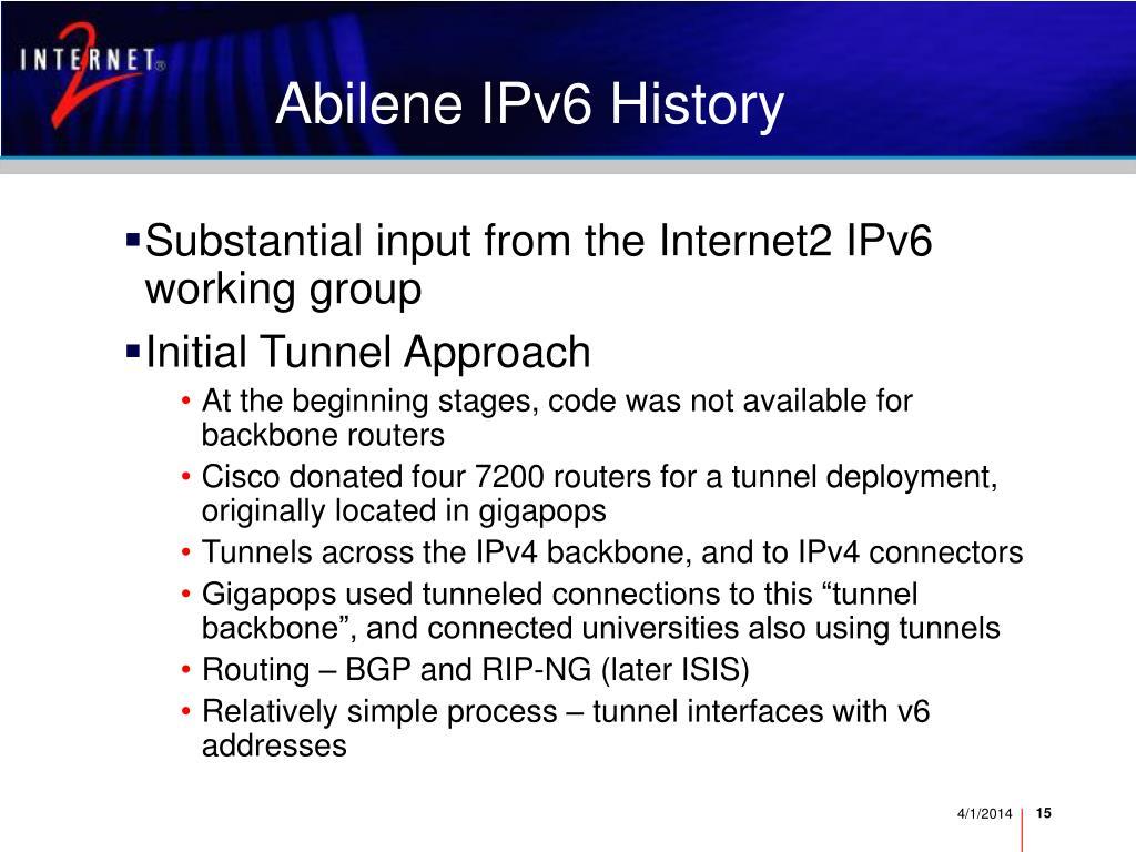 Abilene IPv6 History
