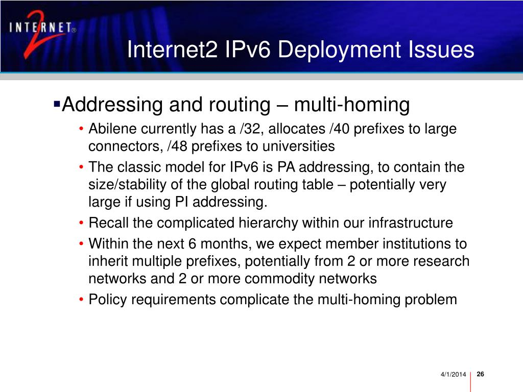 Internet2 IPv6 Deployment Issues
