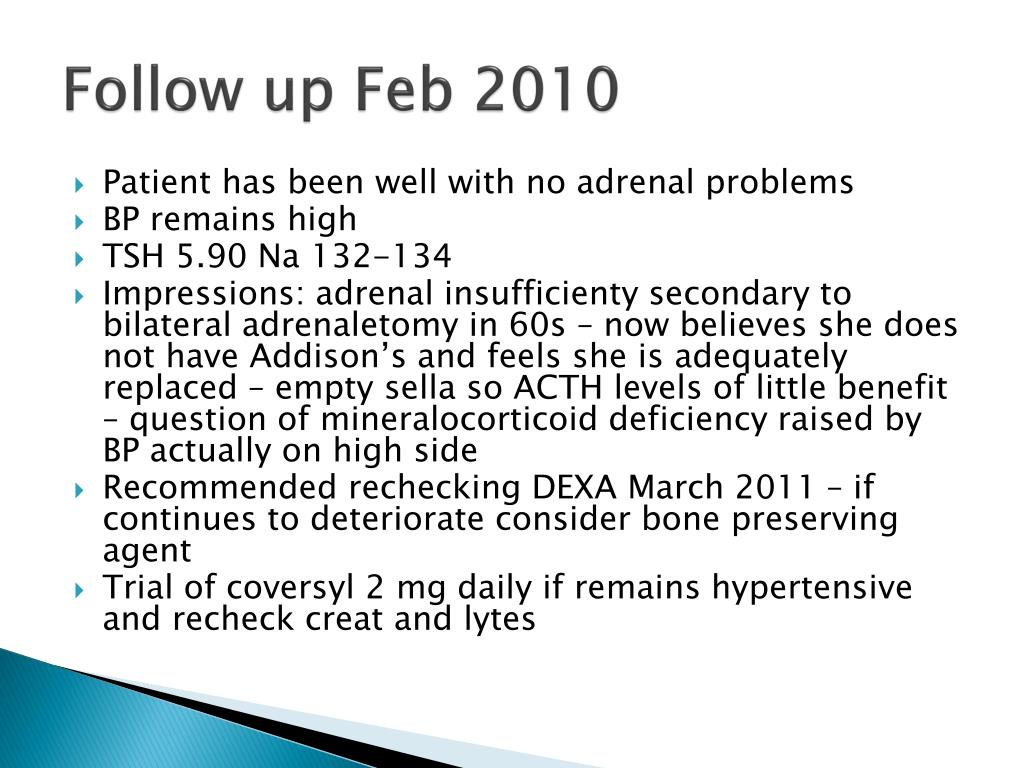 Follow up Feb 2010