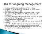 plan for ongoing management