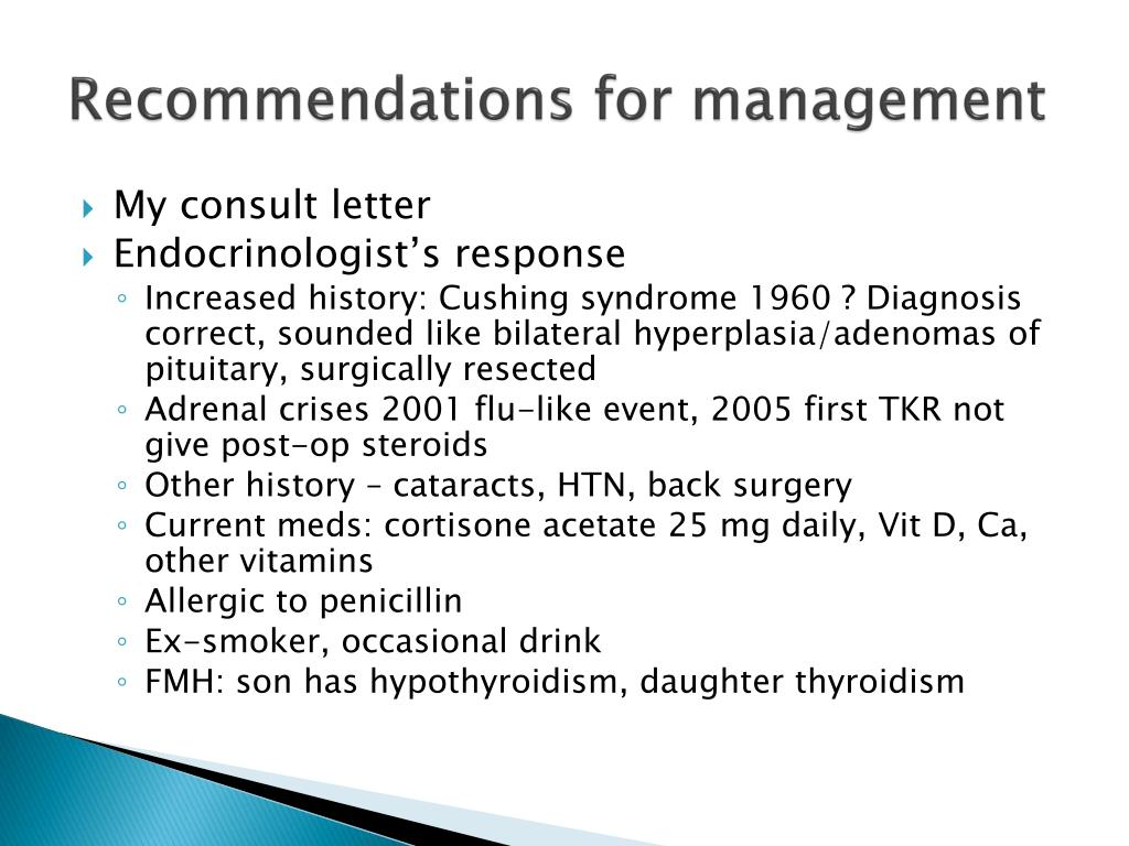 Recommendations for management