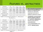 features vs abstractness