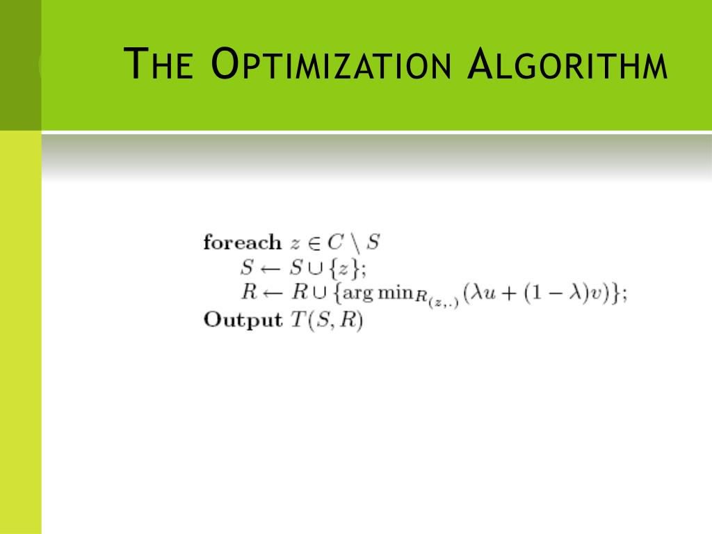 The Optimization Algorithm