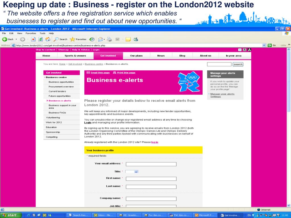 Keeping up date : Business - register on the London2012 website