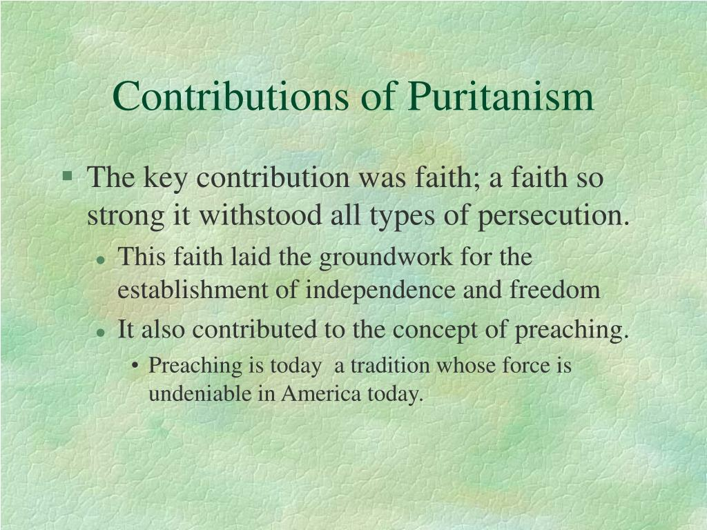 Contributions of Puritanism