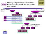 develop organization alternatives create and select models that will work for your agencies