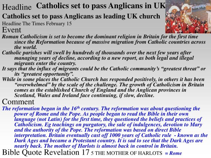 Catholics set to pass anglicans in uk