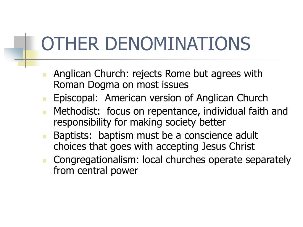 OTHER DENOMINATIONS