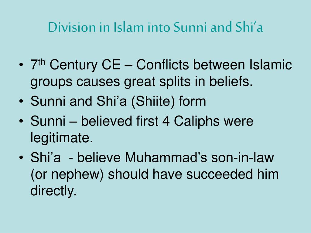 Division in Islam into Sunni and Shi'a
