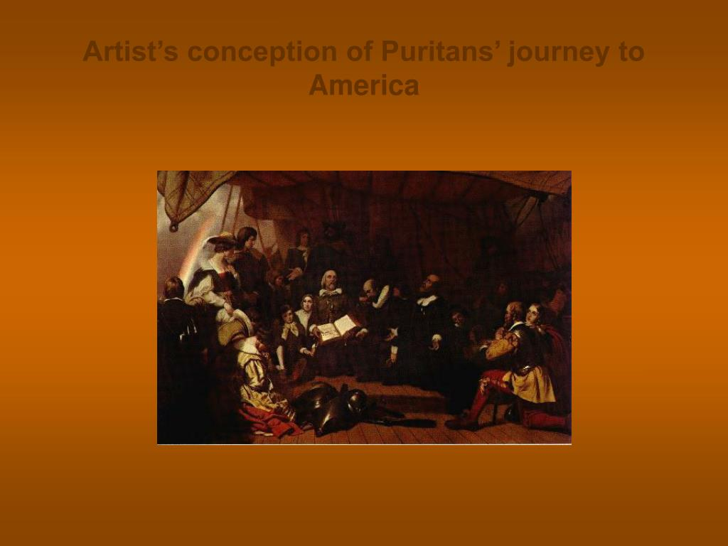 Artist's conception of Puritans' journey to America