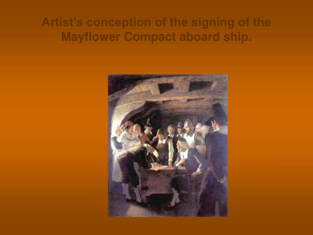 Artist's conception of the signing of the Mayflower Compact aboard ship.