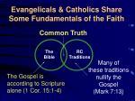 evangelicals catholics share some fundamentals of the faith