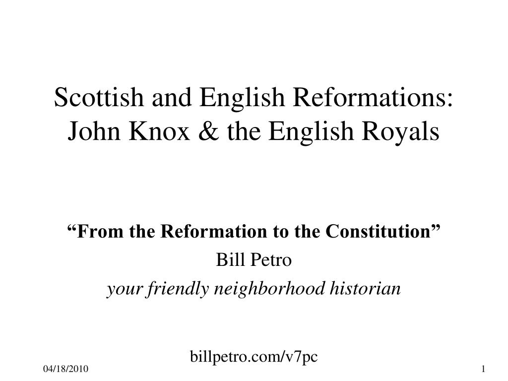 Scottish and English Reformations: