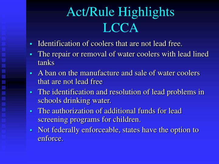 Act rule highlights lcca