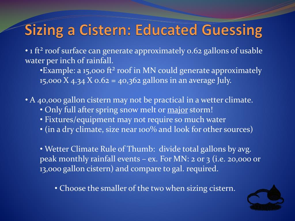 Sizing a Cistern: Educated Guessing