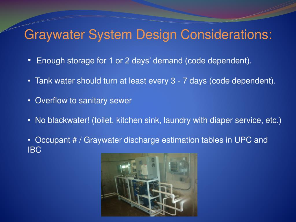 Graywater System Design Considerations: