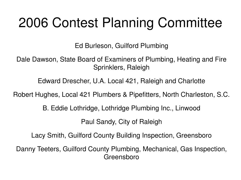 2006 Contest Planning Committee