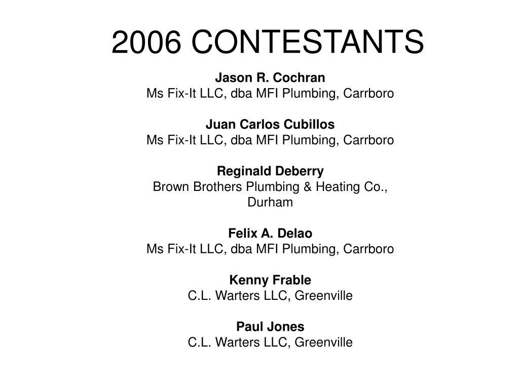2006 CONTESTANTS