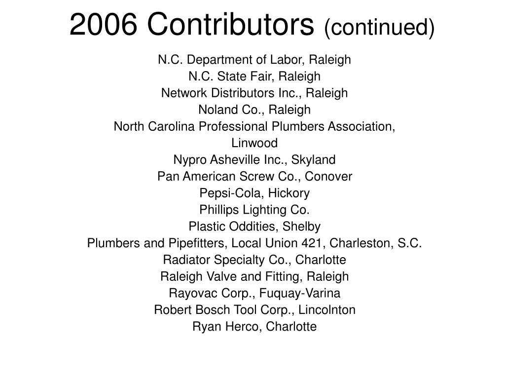 2006 Contributors