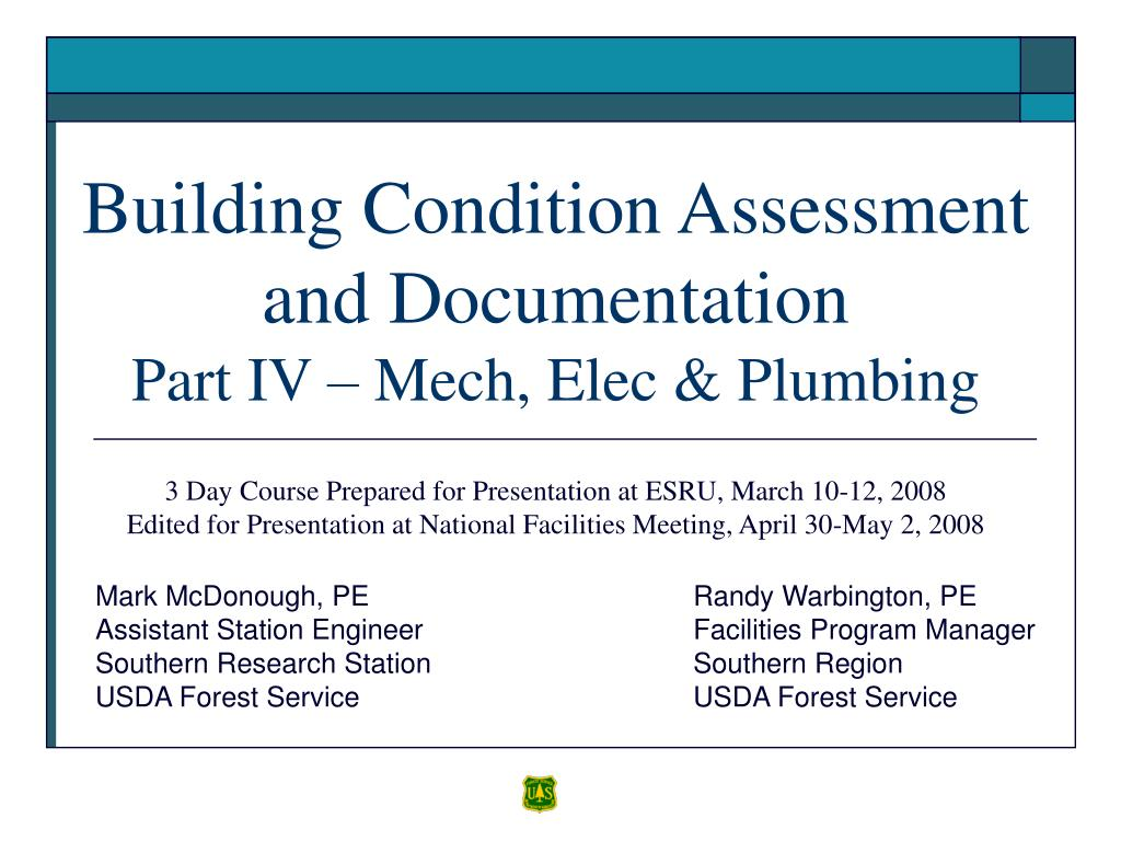 building condition assessment and documentation part iv mech elec plumbing