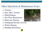 other operations maintenance issues