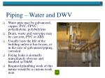 piping water and dwv