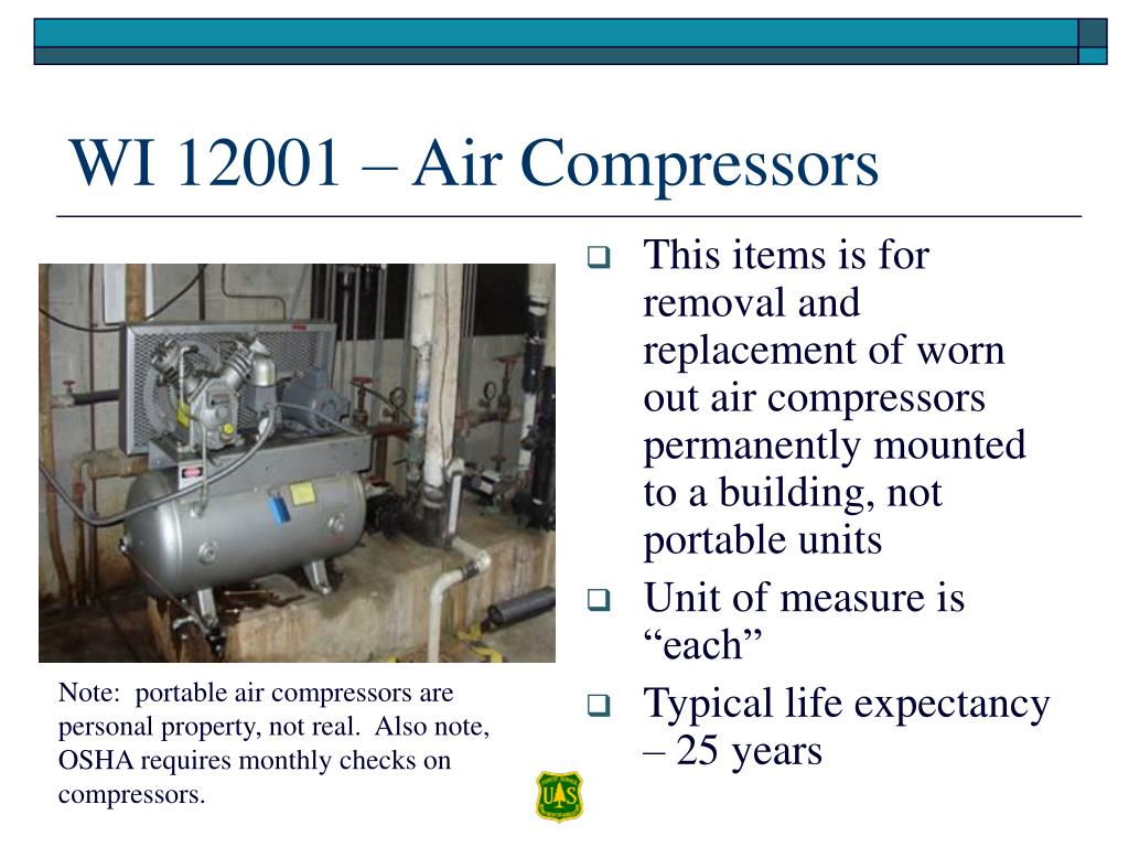This items is for removal and replacement of worn out air compressors permanently mounted to a building, not portable units