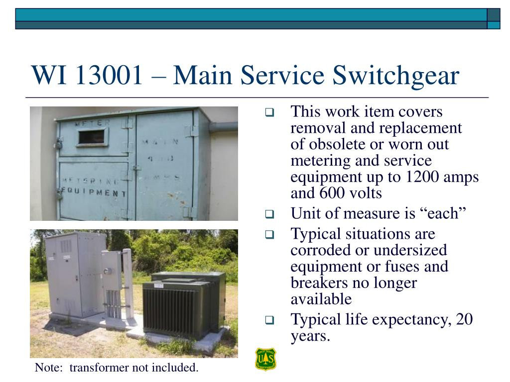 This work item covers removal and replacement of obsolete or worn out  metering and service equipment up to 1200 amps and 600 volts