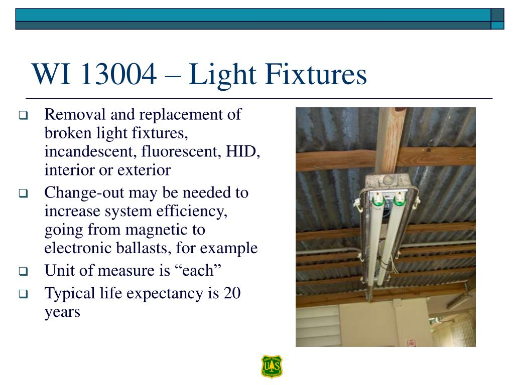 Removal and replacement of broken light fixtures, incandescent, fluorescent, HID, interior or exterior
