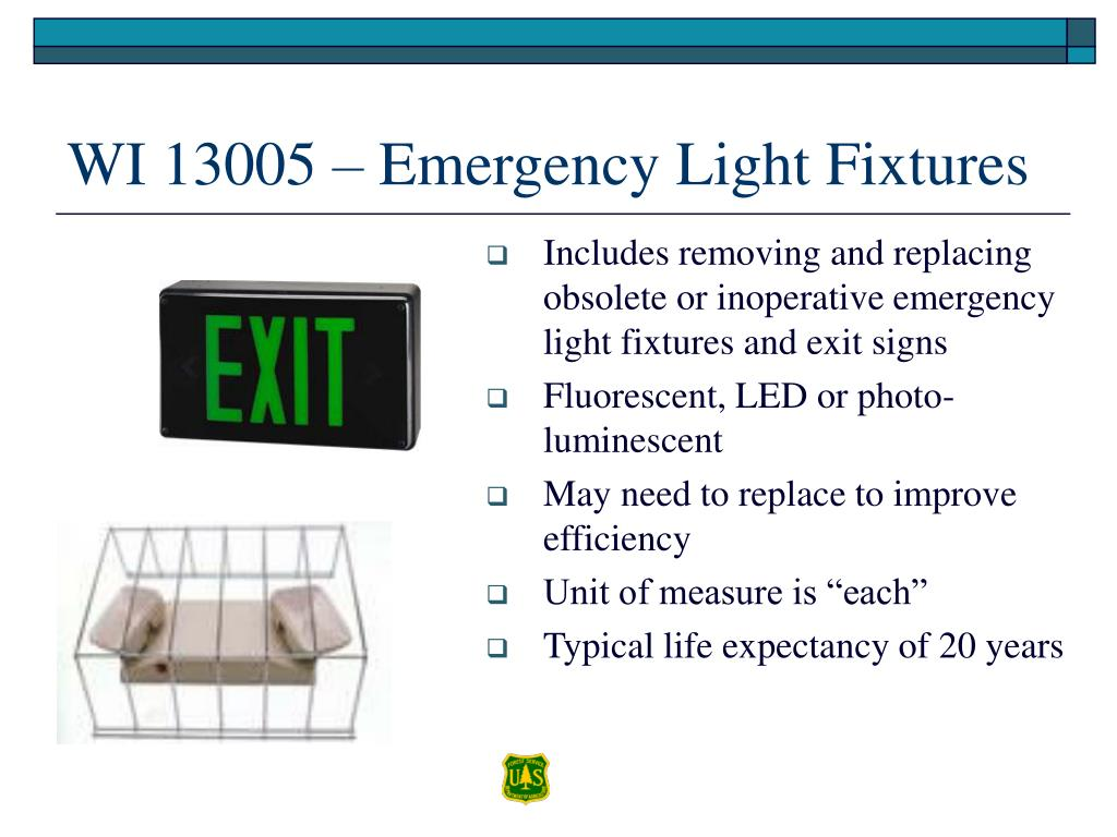 Includes removing and replacing obsolete or inoperative emergency light fixtures and exit signs