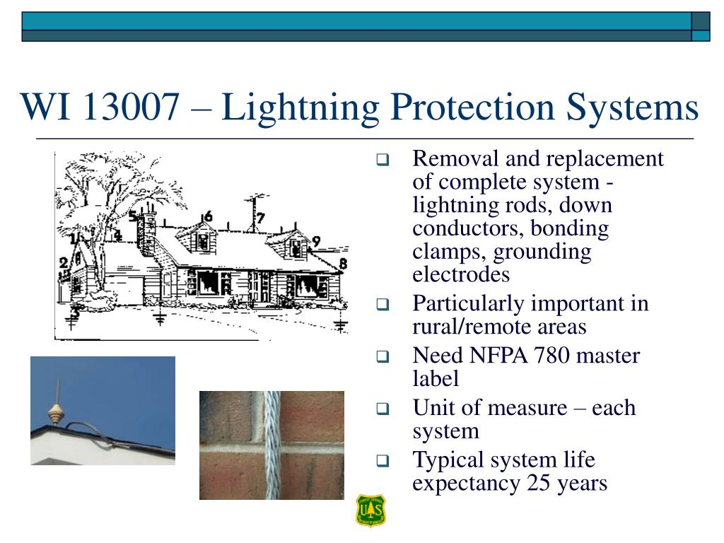 Removal and replacement of complete system - lightning rods, down conductors, bonding clamps, grounding electrodes