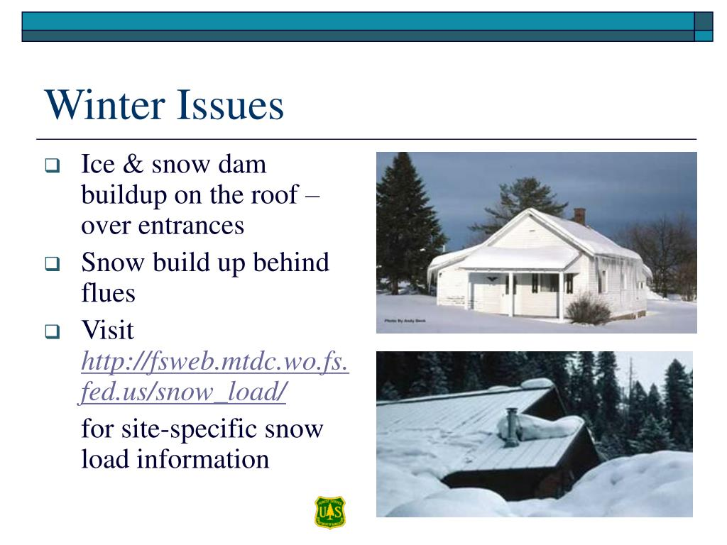 Ice & snow dam buildup on the roof – over entrances