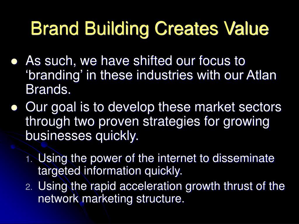 Brand Building Creates Value